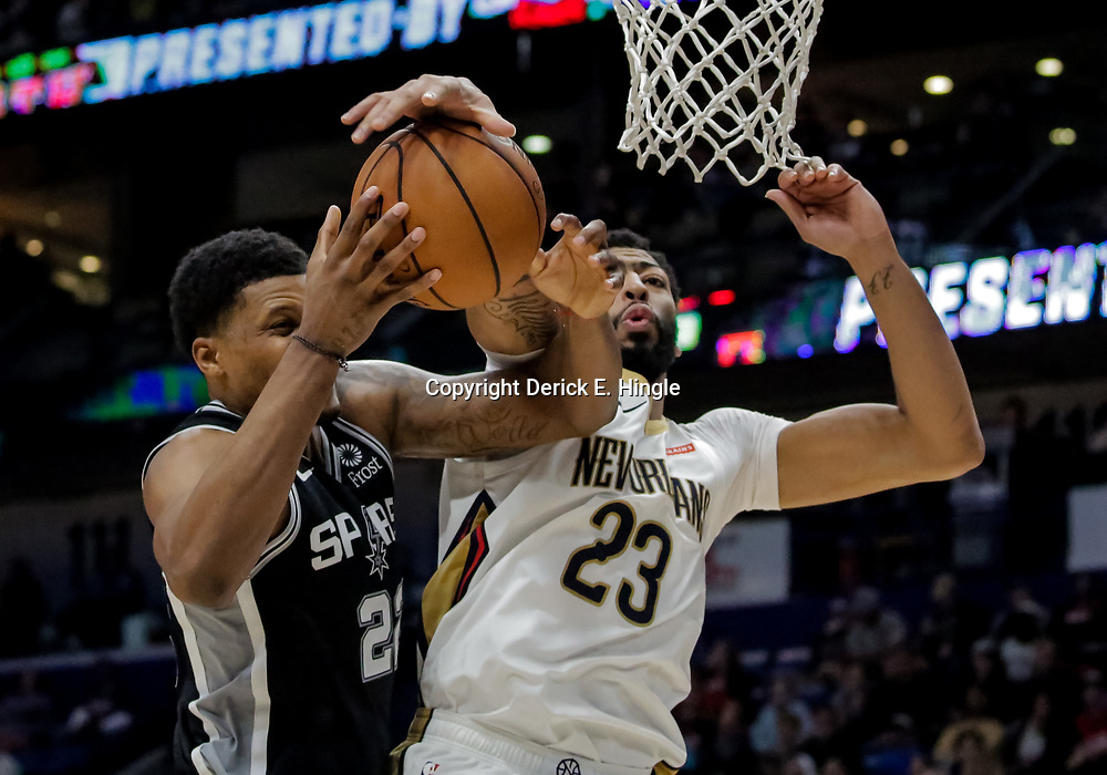 Nov 19, 2018; New Orleans, LA, USA; New Orleans Pelicans forward Anthony Davis (23) blocks a shot by San Antonio Spurs forward Rudy Gay (22) during the second half at the Smoothie King Center. Mandatory Credit: Derick E. Hingle-USA TODAY Sports