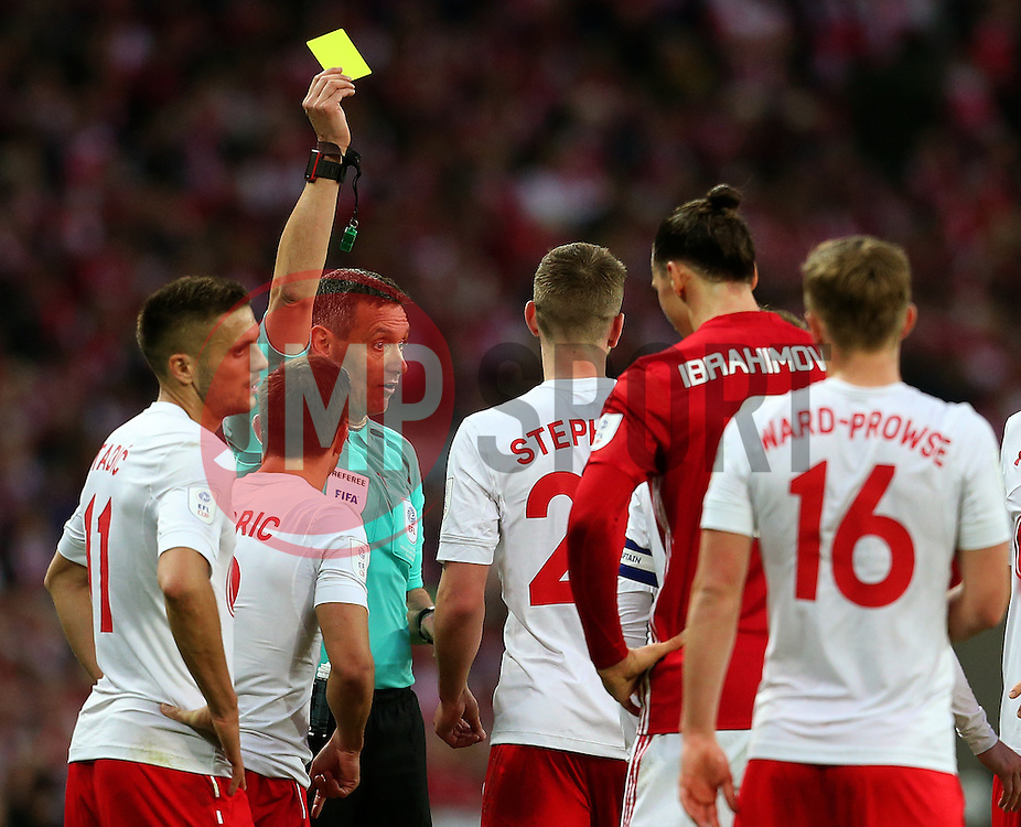 Jack Stephens of Southampton receives a yellow card after a foul on Anthony Martial of Manchester United - Mandatory by-line: Matt McNulty/JMP - 26/02/2017 - FOOTBALL - Wembley Stadium - London, England - Manchester United v Southampton - EFL Cup Final