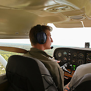 Bush pilot flying over the Okavango Delta.