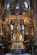 High altar, botafumeiro and crypt  in the Roman Catholic cathedral, Catedral de Santiago de Compostela, Galicia, Spain