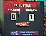 London - Saturday, April 17th 2010: Scoreboard after the Coca Cola League One match at The Valley, Charlton...(Pic by Alex Broadway/Focus Images)