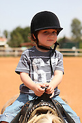 Young boy of four rides a pony Model Release Available