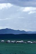 Mongolia. yurt in the outskirts of Oulan Bator    Oulan bator       / yourtes ëgers) , la sortie de Oulan bator / campement  /   Oulan bator  Mongolie