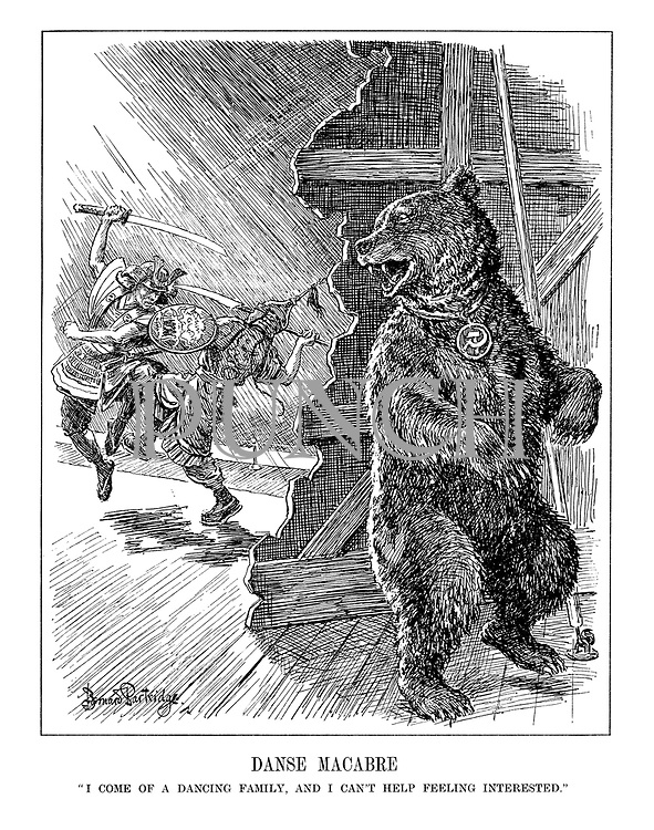 "Danse Macabre. ""I come of a dancing family, and I can't help feeling interested."" (The Russian bear looks on happily at the entertainment of Japan and China fighting with swords on a stage)"