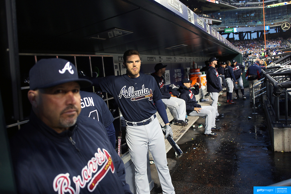 NEW YORK, NEW YORK - MAY 03:  Freddie Freeman #5 of the Atlanta Braves and Manager Fredi González, (left),  in the dugout preparing to bat during the Atlanta Braves Vs New York Mets MLB regular season game at Citi Field on May 03, 2016 in New York City. (Photo by Tim Clayton/Corbis via Getty Images)