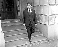 John Hume, MP, Independent, Foyle Constituency, Londonderry, leaving Parliament Buildings, Stormont, 5th August 1969, 196908050232<br />