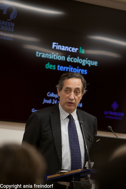 "Green Cross France Finance green transition conference, ""La francaise "" group, Paris, France, climate change, COP22, green bonds, green finance, climate finance, climate gouvernance, energy transition, energy shift. Pierre Shoeffler, Adviser to the CEO of ""La Francaise"" group."