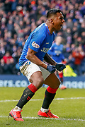 Goal! Alfredo Morelos celebrates scoring Rangers Equaliser during the Ladbrokes Scottish Premiership match between Rangers and Kilmarnock at Ibrox, Glasgow, Scotland on 16 March 2019.