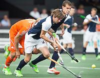 AMSTELVEEN - Neth. -  Romain Lyon van Frankrijk   tijdens de interland wedstrijd tussen de mannen van Nederland en Frankrijk (8-1), ter voorbereiding van het EK . COPYRIGHT KOEN SUYK