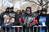 A group of attendees pray during the inauguration of Barack Obama.