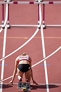 Great Britain, London - 2017 August 05: Geraldine Ruckstuhl from Switzerland competes in women&rsquo;s 100 meters hurdles while heptathlon during IAAF World Championships London 2017 Day 2 at London Stadium on August 05, 2017 in London, Great Britain.<br /> <br /> Mandatory credit:<br /> Photo by &copy; Adam Nurkiewicz<br /> <br /> Adam Nurkiewicz declares that he has no rights to the image of people at the photographs of his authorship.<br /> <br /> Picture also available in RAW (NEF) or TIFF format on special request.<br /> <br /> Any editorial, commercial or promotional use requires written permission from the author of image.