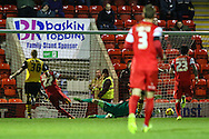 Jay Simpson of Leyton Orient (27) scores the opening goal against Northampton Town during the Johnstone's Paint Trophy match at the Matchroom Stadium London,<br /> Picture by David Horn/Focus Images Ltd +44 7545 970036<br /> 11/11/2014