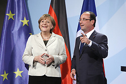Bildnummer: 57992109..Chancellor Angela Merkel and Franois Grard Georges Nicolas Hollande during a press conference French Presidents in Federal Chancellery in Berlin Germany, Tuesday May 15, 2012.Sven Simon/imago/ i-Images