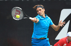 STUTTGART, June 16, 2018  Roger Federer of Switzerland returns a shot during the quarterfinal of ATP Mercedes Cup tennis tournament against Guido Pella of Argentina in Stuttgart, Germany on June 15, 2018. Roger Federer won 2-0. (Credit Image: © Philippe Ruiz/Xinhua via ZUMA Wire)