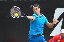 STUTTGART, June 16, 2018  Roger Federer of Switzerland returns a shot during the quarterfinal of ATP Mercedes Cup tennis tournament against Guido Pella of Argentina in Stuttgart, Germany on June 15, 2018. Roger Federer won 2-0. (Credit Image: © Philippe Ruiz/Xinhua via ZUMA Wire)