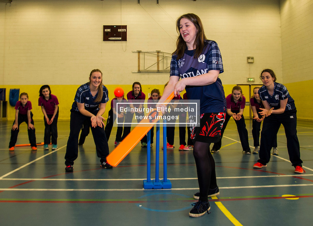 Pictured: Aileen Campbell tries her hand at facing the bowling<br /> Aileen Campbell MSP (Minister for Public Health and Sport) joined Abbi Aitken (Scotland captain) Steve Knox (Scotland women's coach), Nicola Wilson (CS women's participation manager) and Oli Rae (opener for Edinburgh and Scotland) today at Edinburgh' Fettes College to promote women's cricket ahead of the national team's trip to Sri Lanka for the ICC Women's World Cup Qualifier (in Sri Lanka) on 29 January. <br /> Ger Harley | EEm 24 January 2017