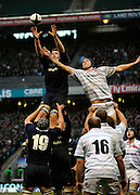 Twickenham, GREAT BRITAIN,  Robert YANE collect the line out ball Daniel VICKERMAN challenges during the 2008 Varsity Rugby match Oxford vs Cambridge played at the RFU Stadium Twickenham, Surrey on  Thursday, 11/12/2008[Photo, Peter Spurrier/Intersport-images]