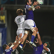 Kane Thompson, Samoa, wins a line out from Willem Alberts, South Africa, during the South Africa V Samoa, Pool D match during the IRB Rugby World Cup tournament. North Harbour Stadium, Auckland, New Zealand, 30th September 2011. Photo Tim Clayton...