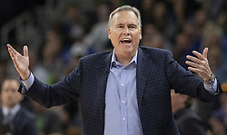 April 23, 2018 - Minneapolis, MN, USA - Houston Rockets coach Mike D'Antoni in the fourth quarter as the Rockets play the Minnesota Timberwolves in Game 4 of their series Monday, April 23, 2018 at the Target Center in Minneapolis, Minn. The Rockets won, (Credit Image: © Carlos Gonzalez/TNS via ZUMA Wire)