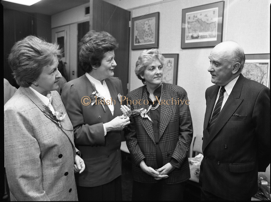 "Irish Laureate Women Of Europe Award. (T10)..1989..17.11.1989..11.17.1989..17th November 1989..Speculation regarding the Irish Laureate for the 1989 Women of Europe Award ended today when the Minister for Education, Ms Mary O'Rourke TD, announced that the Irish Laureate for this year is Grainne Kenny. Founder member of EURAD (Europe Against Drugs), and well known for her work as ""The drugs lady"" in Ireland, Grainne Kenny has been involved in the fight against drugs since 1980. She helped form CAD, Community Action and Drugs and later EURAD. EURAD is has the active co-operation of both the European Commission and Parliament...Image shows (L-R), Ms Particia Lawlor, Director, irish Council of the European Movement, Minister for Education, Mary O'Rourke TD, Grainne Kenny, Irish Laureate and Ted Kenny (husband of Grainne) at the award ceremony."