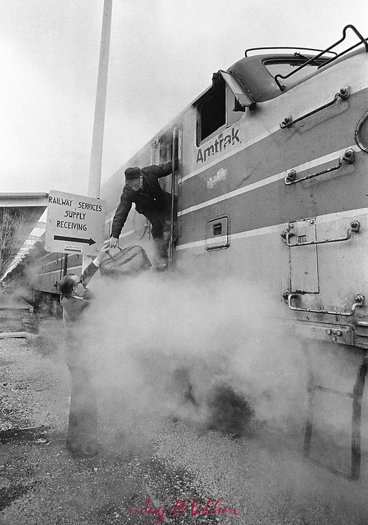 The Amtrak Floridian passenger train that operated between Chicago, Illinois and Miami, Florida ceased operation in 1979.  It was the last passenger train that serviced Louisville. Kentucky as well.  These photographs document the final days for the workers in the Chicago Yards, the Amtrak employees aboard the train, an engineer,, W.C. Roddy, that drove the train between Louisville and Bowling Green, KY and the passengers who enjoyed riding the rails.<br /> <br /> Pictured:  W.C. Rodday, a railroad engineer for 37 years, his traveling bag with him, begins his day in Louisville, KY where he takes over the duties of driving the train to Bowling Green, KY and on to Nashville, TN.  He carries a notebook of track conditions and current speed limits.  During the trip he is constantly talking on the phone with the conductor and fireman on board.
