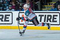 KELOWNA, CANADA - APRIL 25: Carsen Twarynski #18 of the Kelowna Rockets takes a slap shot from the point against the Seattle Thunderbirds on April 25, 2017 at Prospera Place in Kelowna, British Columbia, Canada.  (Photo by Marissa Baecker/Shoot the Breeze)  *** Local Caption ***