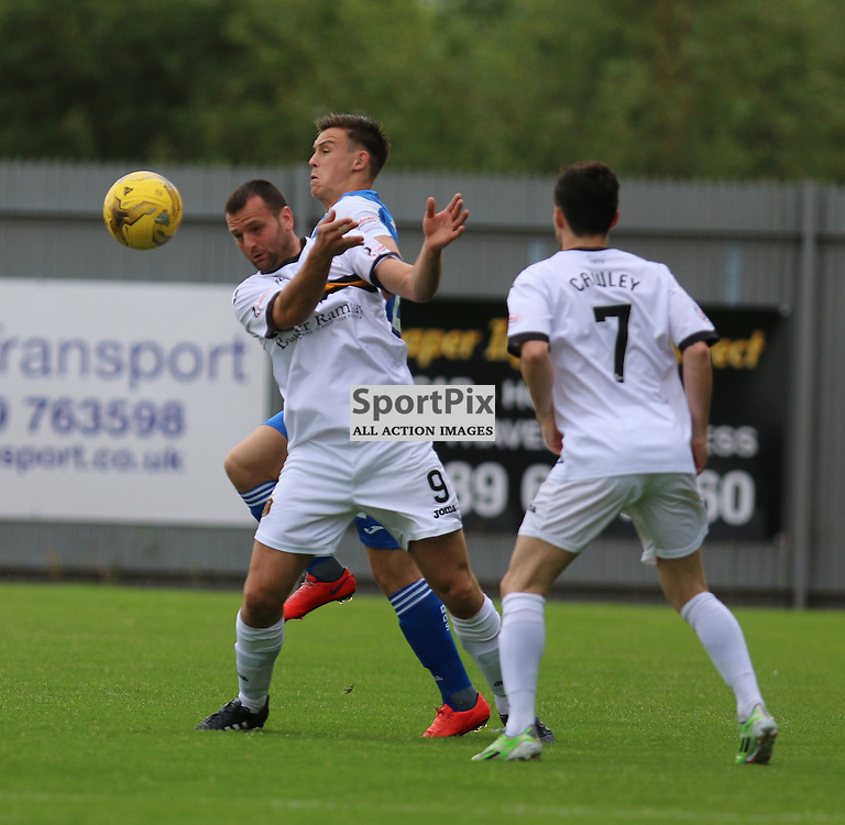 Garry Fleming controls the ball  during the Dumbarton FC V Queen of the South FC Scottish Championship 22th August 2015 <br /> <br /> (c) Andy Scott | SportPix.org.uk