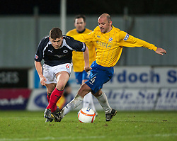 Falkirk's Stewart Murdoch  and Cowdenbeath's player/manager Colin Cameron..Falkirk 2 v 0 Cowdenbeath, 15/12/2012..©Michael Schofield.