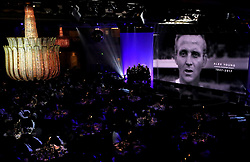 A tribute to Alex Young on the big screen during the Professional Footballers' Association Awards 2017 at the Grosvenor House Hotel, London