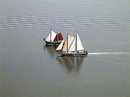 Historische zeilschepen varen op de Waddenzee.<br /> (Historiral sailing yachts sailing on the Waddensea.)