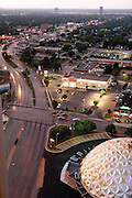 Overhead view of Classen Boulevard in downtown Oklahoma City with gold dome building in foreground.