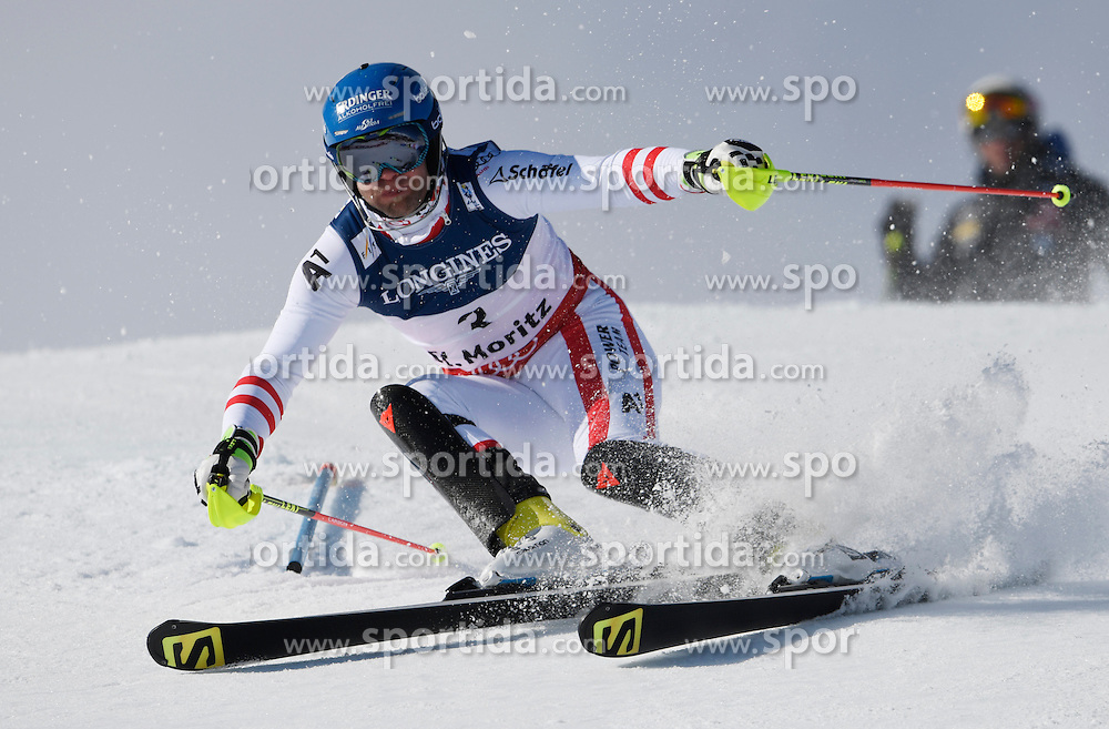 13.02.2017, St. Moritz, SUI, FIS Weltmeisterschaften Ski Alpin, St. Moritz 2017, alpine Kombination, Herren, Slalom, im Bild Romed Baumann (AUT) // Romed Baumann of Austria in action during his run of Slalom competition for the men's Alpine combination of the FIS Ski World Championships 2017. St. Moritz, Switzerland on 2017/02/13. EXPA Pictures &copy; 2017, PhotoCredit: EXPA/ Sammy Minkoff<br /> <br /> *****ATTENTION - OUT of GER*****