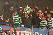 Lewis Morgan of Celtic FC lifts the Betfred Scottish League Cup following their 1-0 victory over Rangers FC at Hampden Park, Glasgow, United Kingdom on 8 December 2019.