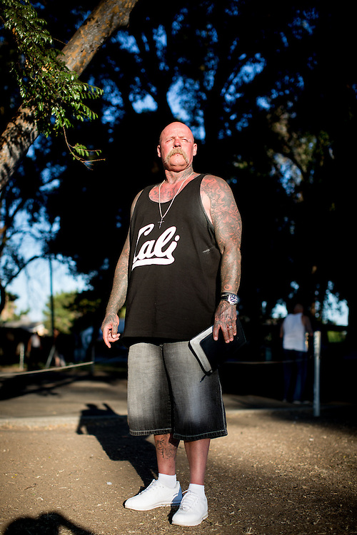 STOCKTON, CA - JULY 27, 2015:  Joseph Harmon poses for a portrait in the community park where he leads church services as a pastor. Harmon spent eight years in solitary confinement at Pelican Bay State Prison. CREDIT: Max Whittaker for The New York Times