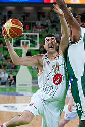 Giorgi Sermadini of Union Olimpija during second semi-final match of Basketball NLB League at Final four tournament between KK Union Olimpija and Krka (SLO), on April 19, 2011 at SRC Stozice, Ljubljana, Slovenia. (Photo By Matic Klansek Velej / Sportida.com)