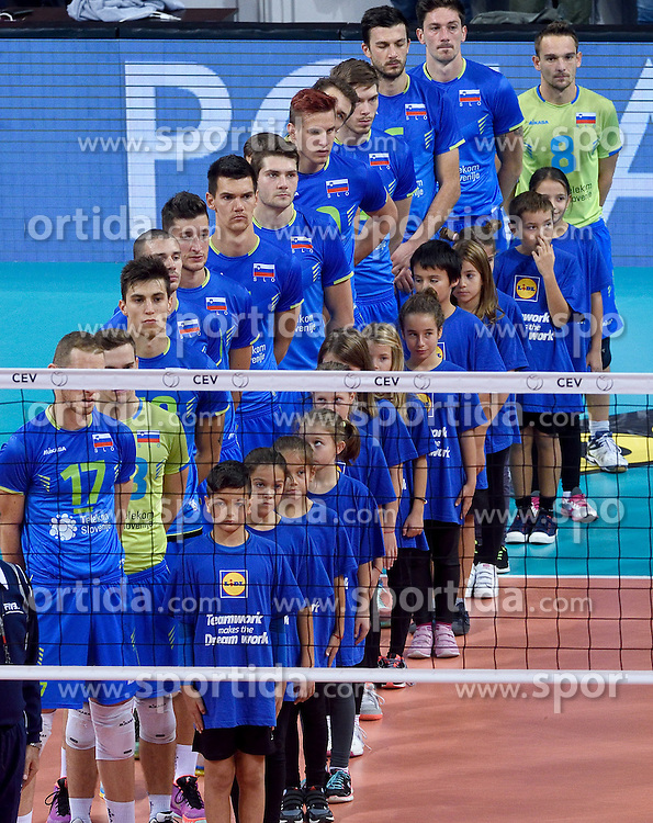 Team Slovenia during volleyball match between National teams of Poland and Slovenia in Quarterfinals of 2015 CEV Volleyball European Championship - Men, on October 14, 2015 in Arena Armeec, Sofia, Bulgaria. Photo by Ronald Hoogendoorn / Sportida