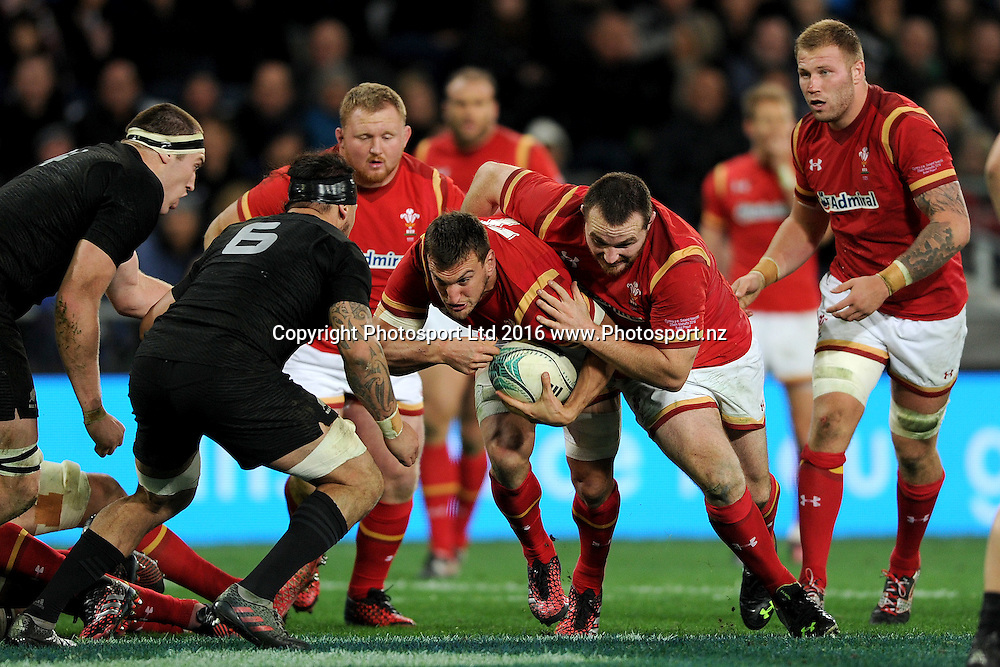 Sam Warburton of Wales runs into contact during the International Test match between the New Zealand All Blacks and Wales at Forsyth Barr Stadium on June 25, 2016 in Dunedin, New Zealand. Credit: Joe Allison / www.Photosport.nz