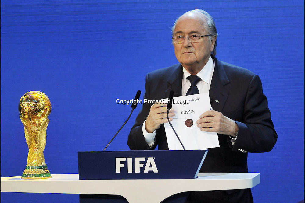 Football: Announcement from FIFA president Sepp Blatter that the 2022 fifa world cup will be held in Qatar. 2 December 2010. Photo: Panoramic/photosport.co.nz