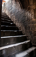 A steep stone stairway in Shaniwar Wada, Pune, Maharashtra, India.