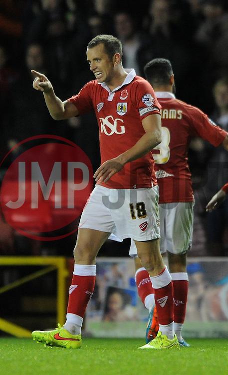 Bristol City's Aaron Wilbraham celebrates his goal. - Photo mandatory by-line: Dougie Allward/JMP - Mobile: 07966 386802 - 11/11/2014 - SPORT - Football - Bristol - Ashton Gate - Bristol City v AFC Wimbledon - Johnstone Paint Trophy