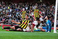 FOOTBALL - 2018 / 2019 Premier League - Arsenal vs. Watford<br /> <br /> Despair for Craig Cathcart of Watford after putting the ball into his own net for Arsenal's first goal, at the Emirates<br /> <br /> COLORSPORT/ANDREW COWIE