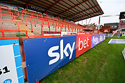 Sky Bet advertising boards in front of the Big Bank before the EFL Sky Bet League 2 match between Exeter City and Grimsby Town FC at St James' Park, Exeter, England on 29 December 2018.