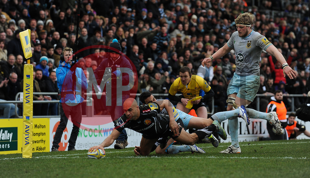 Olly Woodburn of Exeter Chiefs scores.  - Mandatory byline: Alex Davidson/JMP - 20/03/2016 - RUGBY - Sandy Park - Exeter, England - Exeter Chiefs v Northampton Saints - Aviva Premiership