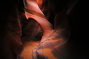 An arch in Lower Antelope Canyon, a slot canyon near Page, Arizona.