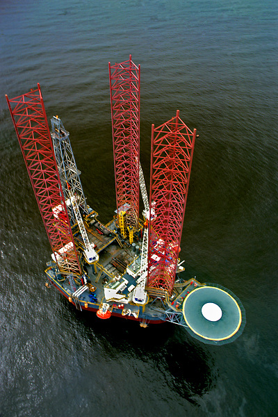 Stock photo of an aerial view of a jackup offshore oil and gas drilling rig