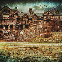 Gloomy image of Bennett College in New York with added textures.
