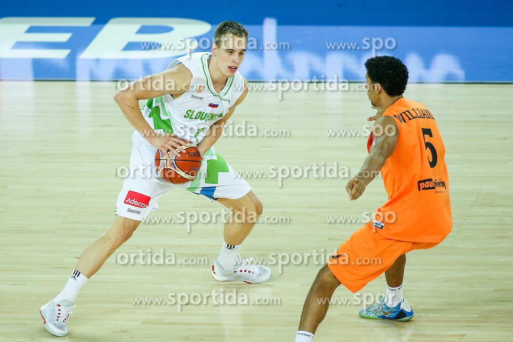 Klemen Prepelic of Slovenia and Leon Williams of Netherlands during basketball match between Slovenia vs Netherlands at Day 4 in Group C of FIBA Europe Eurobasket 2015, on September 8, 2015, in Arena Zagreb, Croatia. Photo by Matic Klansek Velej / Sportida