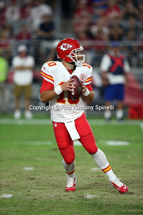 Kansas City Chiefs quarterback Chase Daniel (10) drops back to pass during the 2015 NFL preseason football game against the Arizona Cardinals on Saturday, Aug. 15, 2015 in Glendale, Ariz. The Chiefs won the game 34-19. (©Paul Anthony Spinelli)