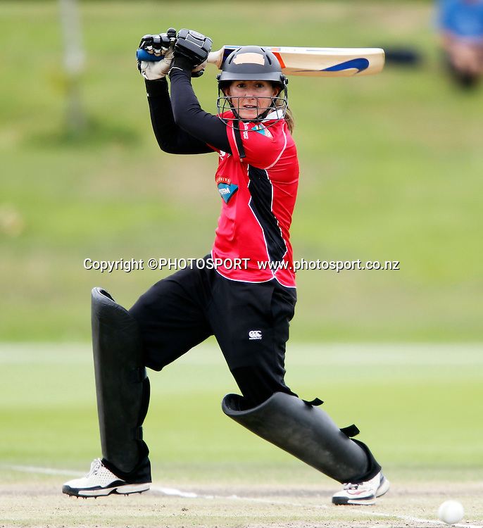 Maria Fahey during her innings for Canterbury. Canterbury Magicians v Wellington Blaze in the Action Cricket Cup Final. Women's Cricket. QEII Park, Christchurch, New Zealand. Sunday, 30 January 2011. Joseph Johnson / PHOTOSPORT.