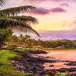 Maui Hawaii sunrise panorama with a plam tree along Wailea Beach Path at Wailea Beach. Copyright ⓒ 2019 Paul Velgos with All Rights Reserved.
